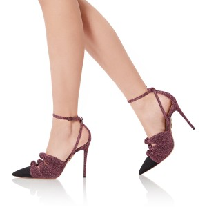 Maroon and Black Bow Heels Ankle Strap Heels Stilettos Pumps