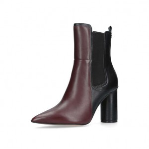 Maroon and Black Chunky Heel Boots Pointy Toe Ankle Chelsea Boots