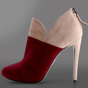 Maroon and Khaki Suede Stiletto Boots Zipper Ankle Booties