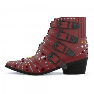 Maroon Buckles Rhinestone Studs Fashion Boots Block Heel Ankle Boots