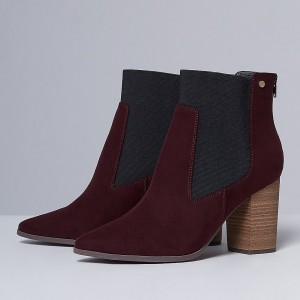 Maroon Chelsea Boots Chunky Heels Pointy Toe Ankle Booties