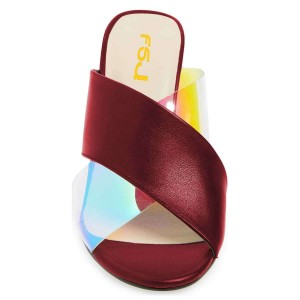 Dark Red Hologram Clear Mule Heels Cross Strap Sandals