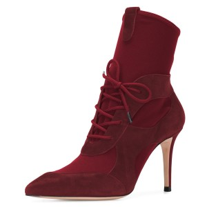 Maroon Lace Up Boots Stiletto Heel Ankle Boots for Women