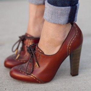Maroon Lace up Oxford Heels Vintage Shoes Chunky Heel Oxford Pumps