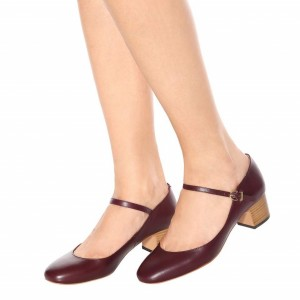 Maroon Mary Jane Shoes Round Toe Block Heels Pumps