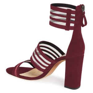 Maroon Mesh Ankle Strap Chunky Heel Sandals