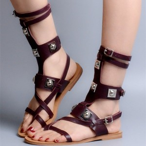 Maroon Mid-calf Studs Buckle Gladiator Sandals Summer Fats Sandals
