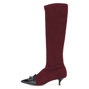 Maroon Pointy Toe Ruffle Kitten Heel Boots Fashion Mid Calf Boots