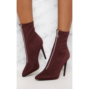 Maroon Pointy Toe Stiletto Heel Ankle Booties with Zipper