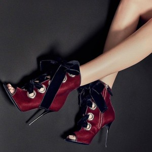 Burgundy Lace up Boots Velvet Stiletto Heel Ankle Booties