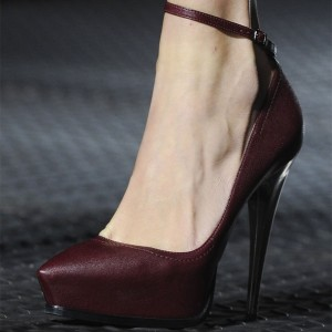 Maroon Ankle Strap Heels Platform Pumps for Women