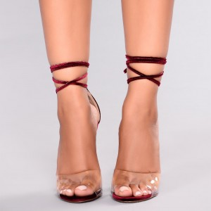 Maroon Strappy Sandals Open Toe Stiletto Heels Clear Sandals
