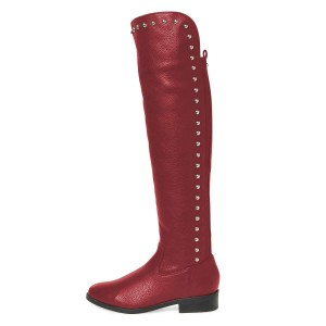 Maroon Studs Round Toe Flat Long Boots Knee High Boots