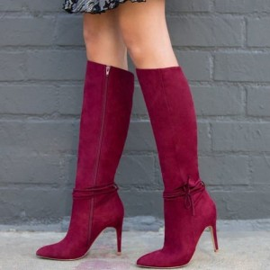 Maroon Suede Boots Stiletto Heel Calf Length Boots