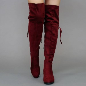 Maroon Suede Chunky Heel Boots Over-the-Knee Long Boots