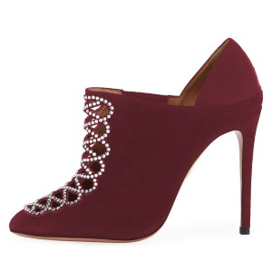 Maroon Suede Hollow out Stiletto Heel Ankle Booties with Rhinestone