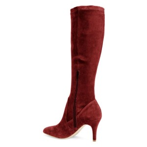 Maroon Suede Knee-high Stiletto Boots for Women