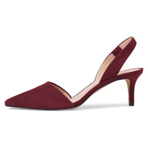 Maroon Suede Slingback Pumps Kitten Heel Pumps