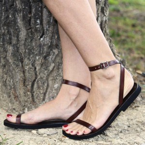 Maroon Summer Sandals Comfortable Flats Beach Sandals