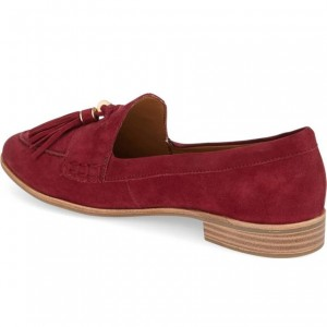 Maroon Tassel Suede Shoes Round Toe Loafers for Women