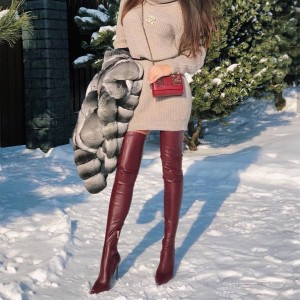 Maroon Thigh High Heel Boots Pointy Toe Stiletto Heels Boots