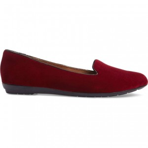 Maroon Velvet Comfortable Flats Round Toe Loafers for Women