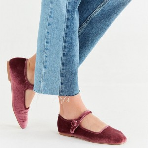 Maroon Velvet Mary Jane Shoes Square Toe Flats School Shoes