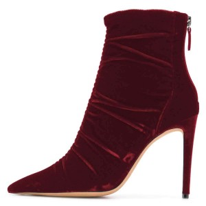 Maroon Velvet Stiletto Boots Pointy Toe Ankle Boots
