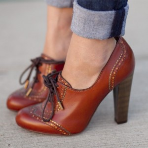 Tan Lace up Oxford Heels Vintage Shoes Chunky Heels Shoes