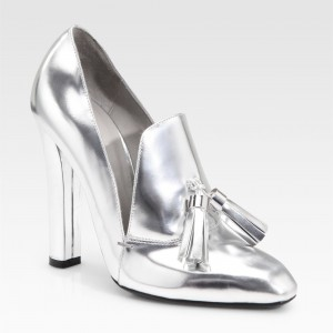 Silver Metallic Tassel Chunky Heel Loafers for Women