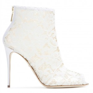 Women's White Peep Toe Platform Lace Stiletto Heel Ankle Boots Wedding shoes
