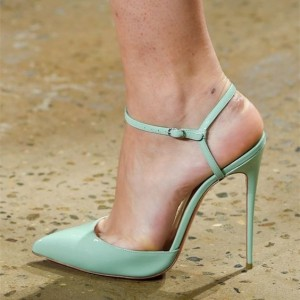 Mint Green Slingback Heels Closed Toe Sandals Stiletto Heels