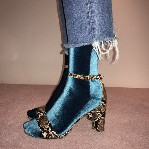Green Python Ankle Strap Sandals Open Toe Ankle Strap Chunky Heels