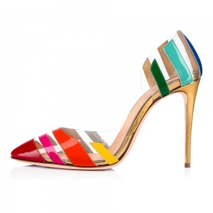 Multi-color Patent Leather Clear Heels Pumps