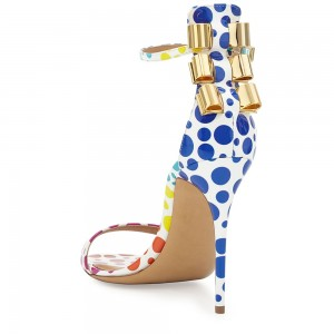 Multi-color Polka Dot Patent Leather Ankle Strap Stiletto Heel Sandals