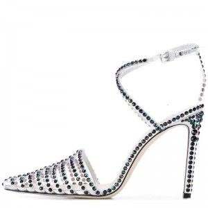 Multi-Color  Rhinestone Clear Heels Cross Strap Heels