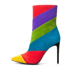 Multi-Color Suede Stiletto Boots Pointy Toe Ankle Booties