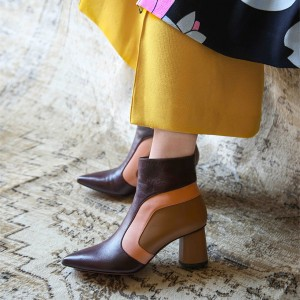 Multi Color Block Heel Boots Pointed Toe Ankle Boots