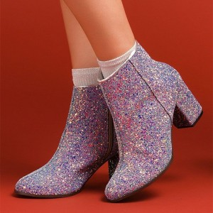 Multi Color Glitter Boots Round Toe Block Heel Ankle Booties