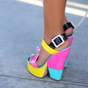 Women's Colorful Slingback Buckle Platform Chunky Heel Sandals