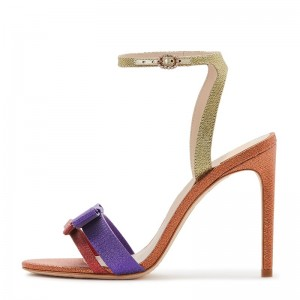 Multicolor Bow Stiletto Heel Ankle Strap Sandals
