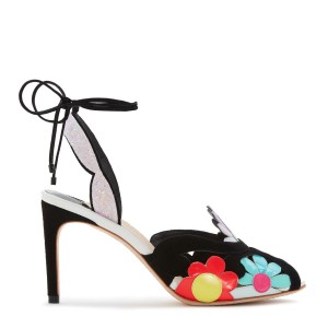 Multicolor Flowers Glitter Slingback Heels Stilettos Strappy Sandals