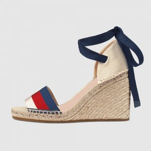 Multicolor Lace up Espadrille Sandals Wedge Heels Platform Sandals