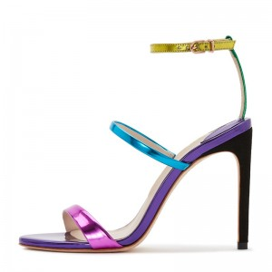 Multicolor Mirror Leather Stiletto Heel Ankle Strap Sandals