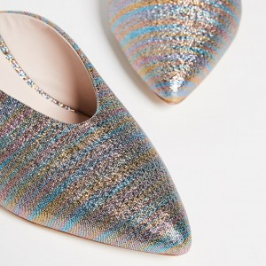 Blue and Gold Pointy Toe Kitten Heels Sparkly Mules for Women