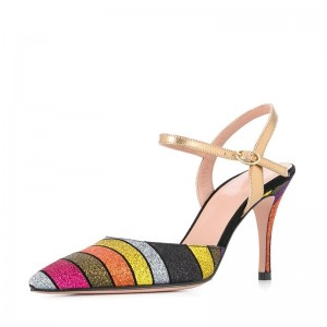 Multicolor Pointy toe Stiletto Heel Slingback Pumps