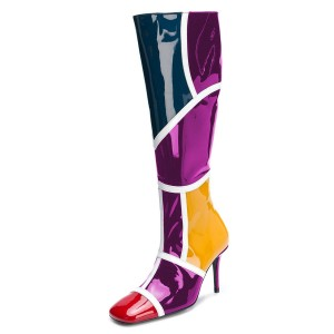 Multicolor Stiletto Boots Square Toe Knee-high Boots