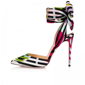 Multicolor Strip Bow Ankle Strap Heels Pumps