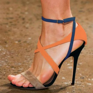 Multicolor Stiletto Heels Ankle Strap Sandals