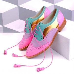Multicolor Women's Oxfords Lace up Flat Tassels Comfortable Shoes
